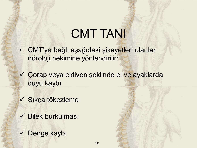 CMT TANI CMT'ye bağlı aşağıdaki şikayetleri olanlar nöroloji hekimine yönlendirilir: Çorap veya eldiven şeklinde el ve ayaklarda duyu kaybı.