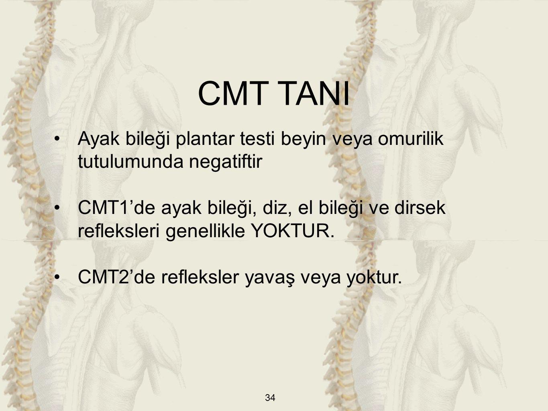 CMT TANI Ayak bileği plantar testi beyin veya omurilik tutulumunda negatiftir.