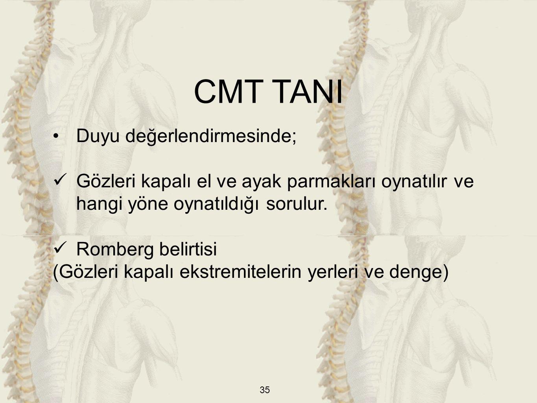 CMT TANI Duyu değerlendirmesinde;