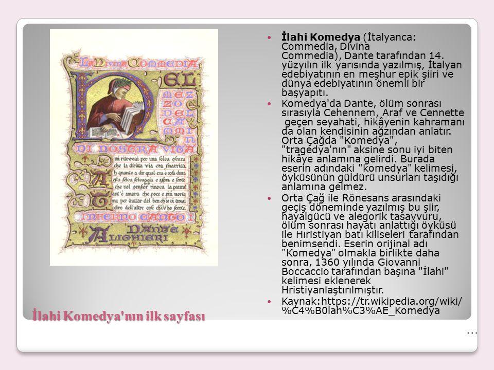İlahi Komedya nın ilk sayfası