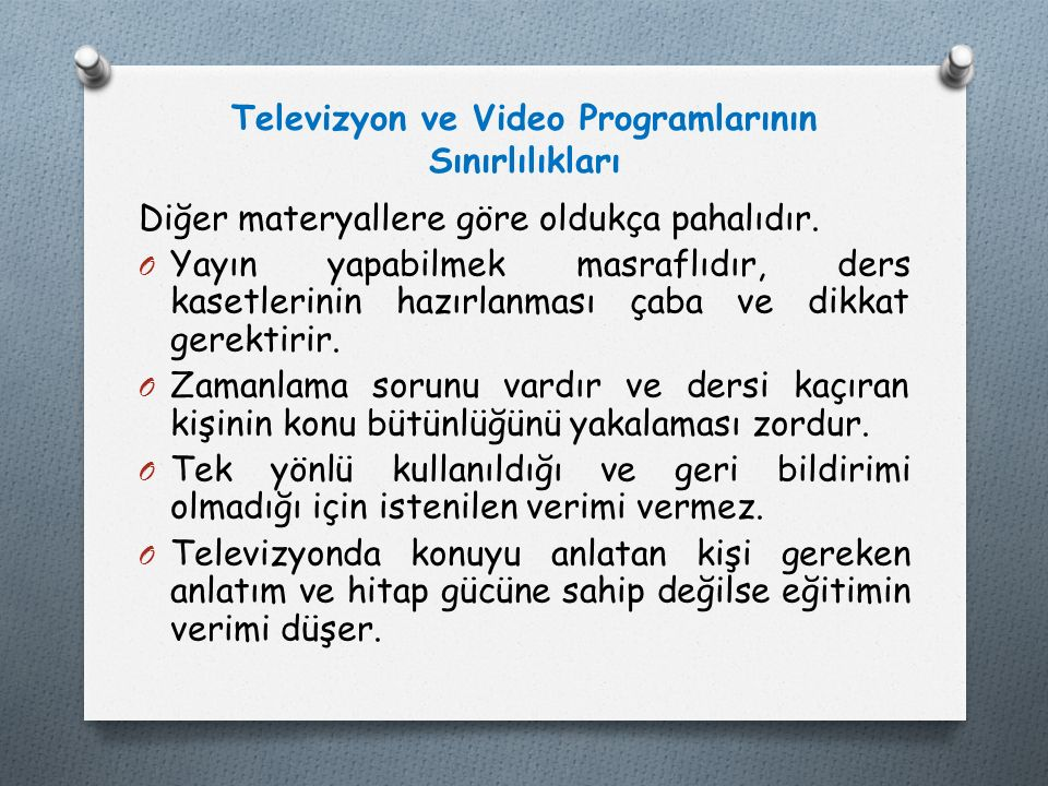 Televizyon ve Video Programlarının Sınırlılıkları