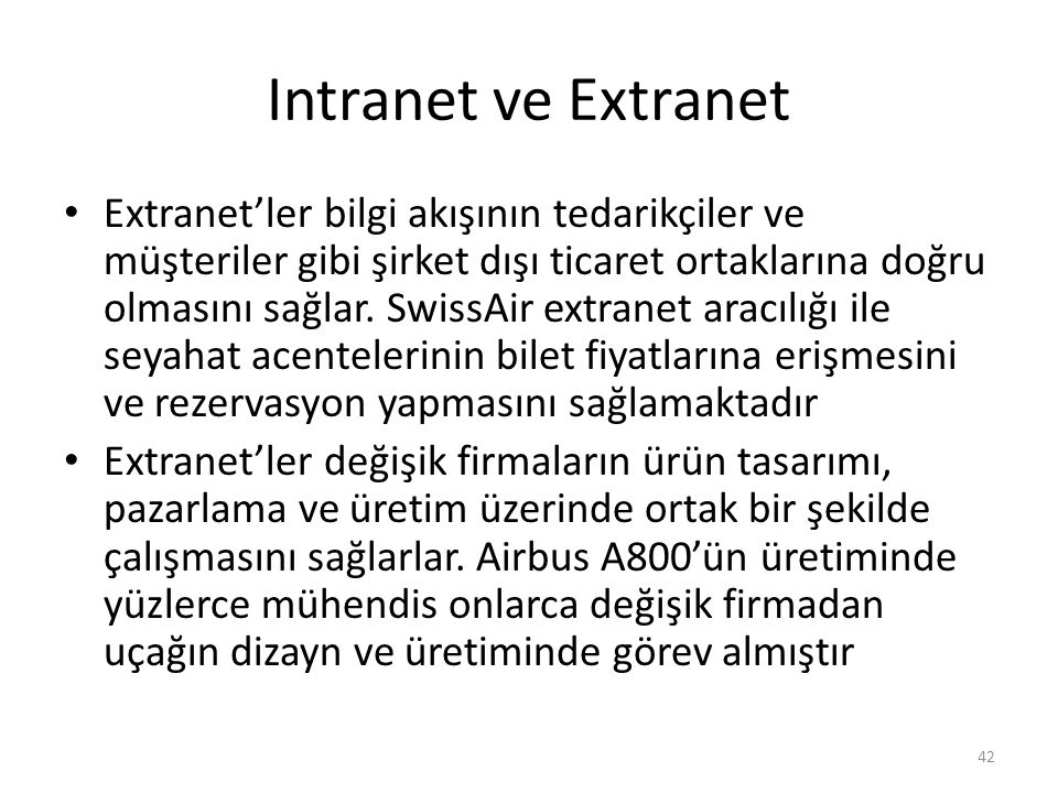 Intranet ve Extranet