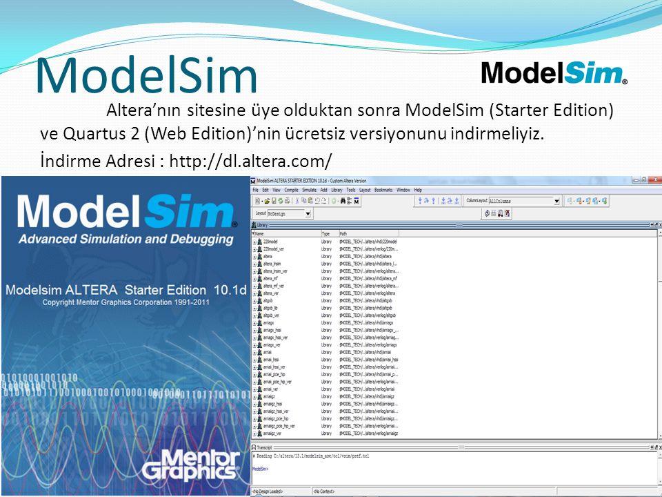 ModelSim İndirme Adresi : http://dl.altera.com/