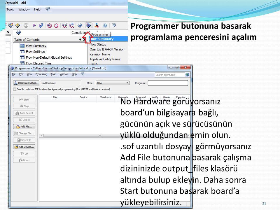 Programmer butonuna basarak programlama penceresini açalım