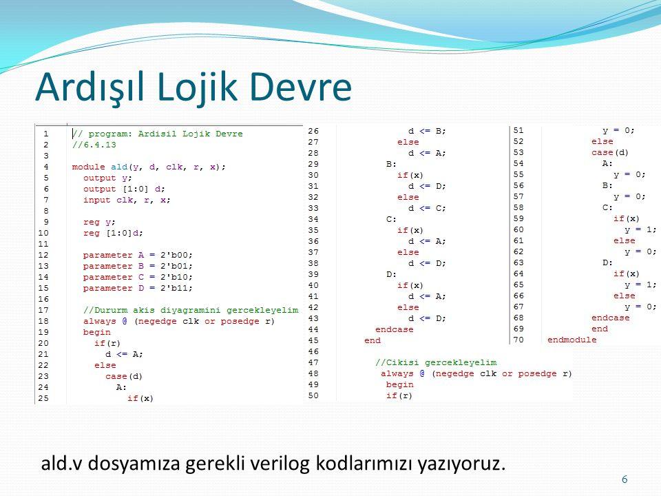 Ardışıl Lojik Devre ald.v dosyamıza gerekli verilog kodlarımızı yazıyoruz.