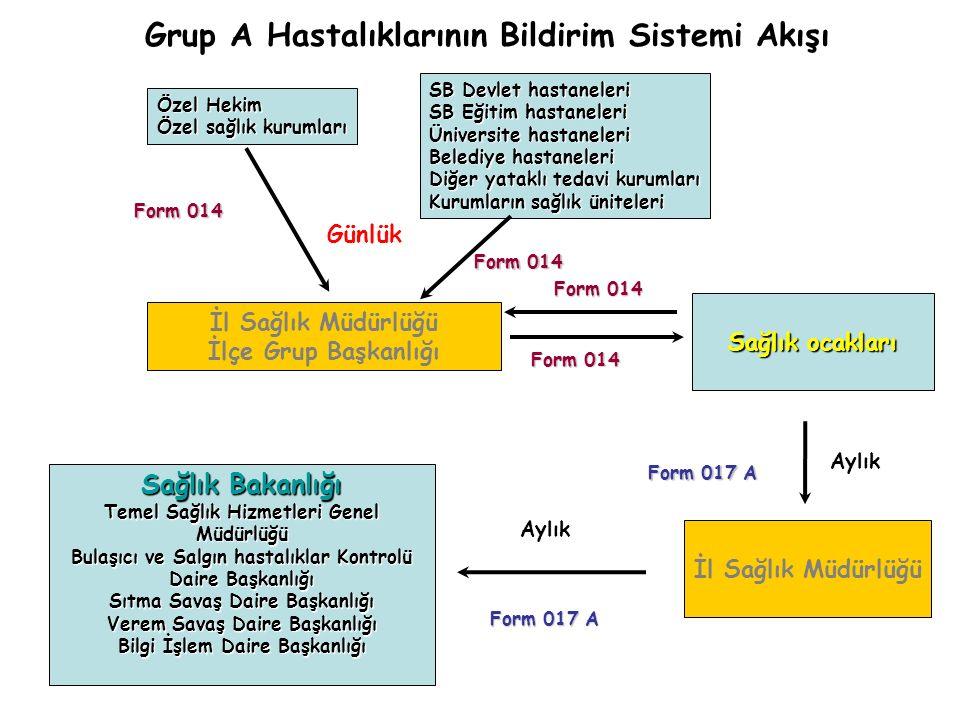 Grup A Hastalıklarının Bildirim Sistemi Akışı