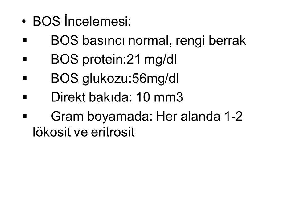BOS İncelemesi: BOS basıncı normal, rengi berrak. BOS protein:21 mg/dl. BOS glukozu:56mg/dl. Direkt bakıda: 10 mm3.