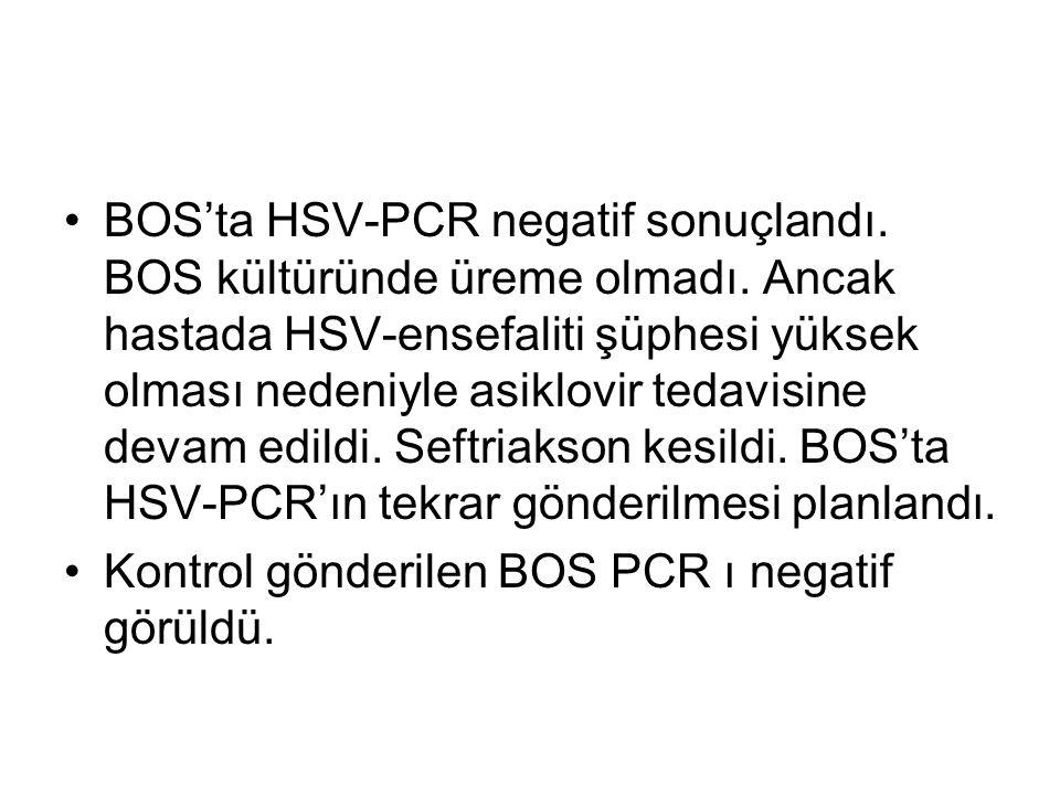 BOS'ta HSV-PCR negatif sonuçlandı. BOS kültüründe üreme olmadı