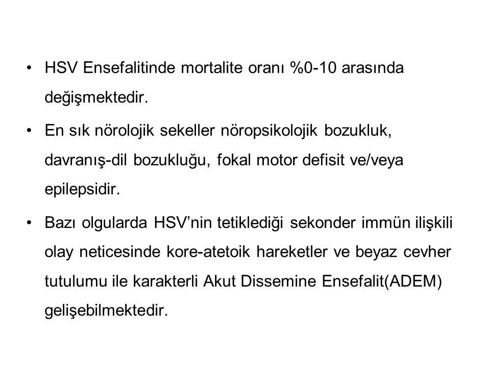 HSV Ensefalitinde mortalite oranı %0-10 arasında değişmektedir.