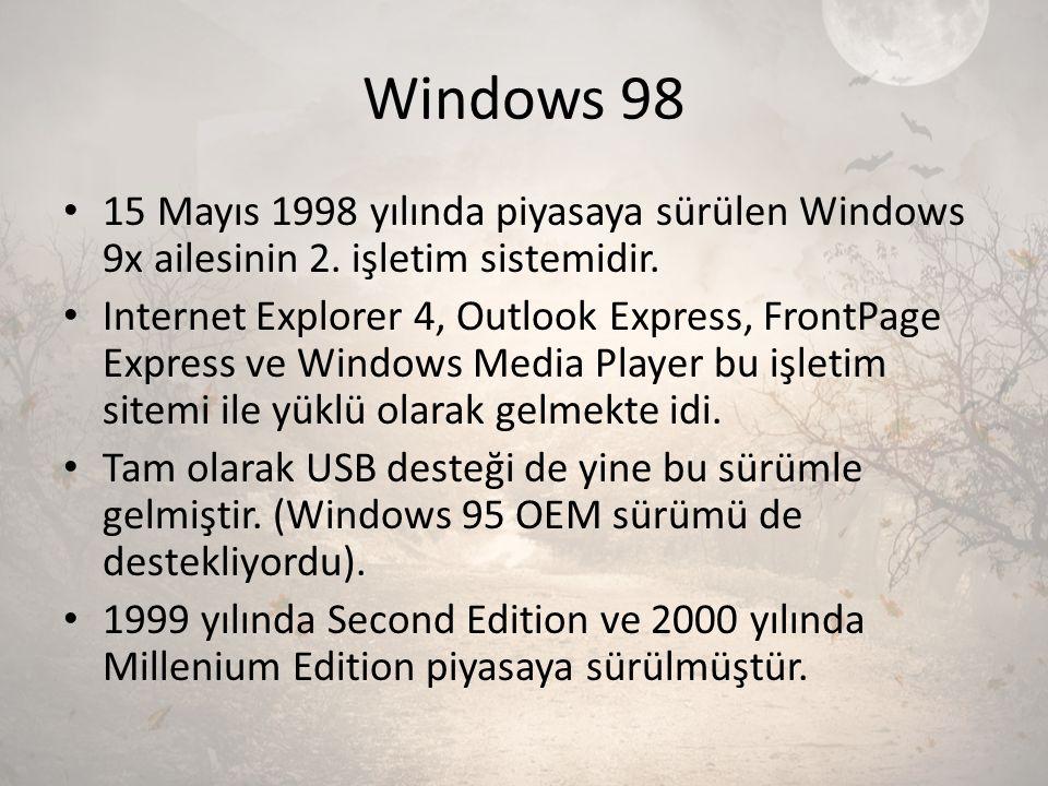 Windows 98 15 Mayıs 1998 yılında piyasaya sürülen Windows 9x ailesinin 2. işletim sistemidir.