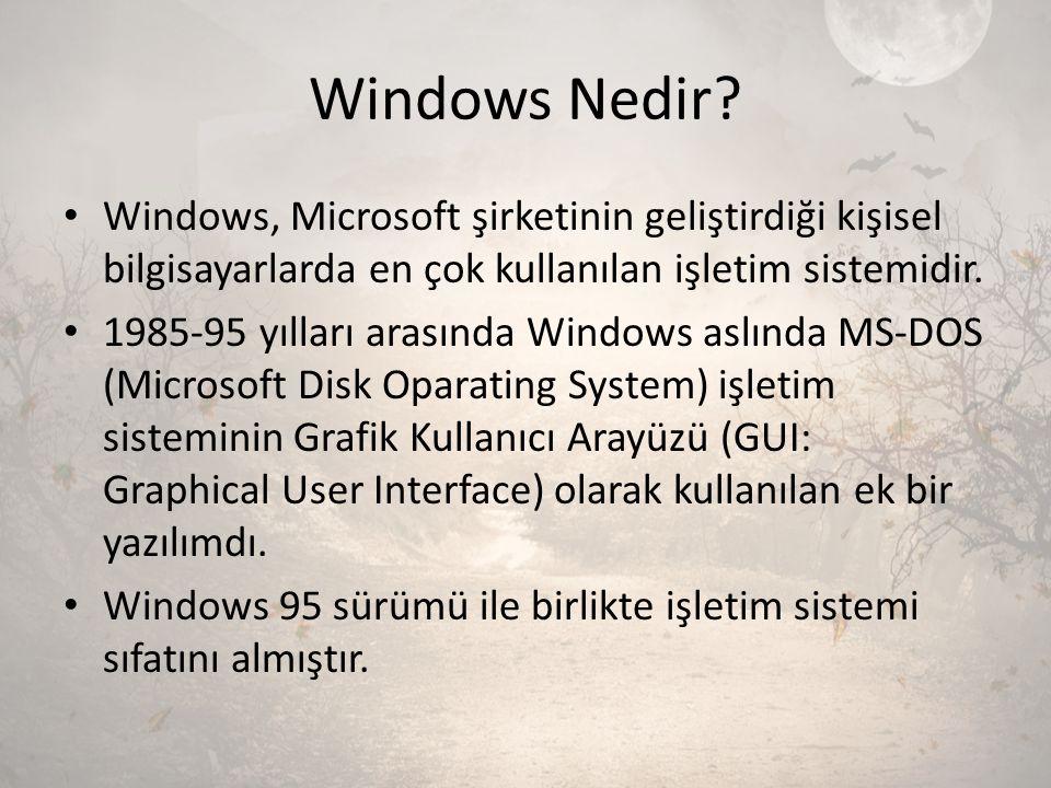 Windows Nedir Windows, Microsoft şirketinin geliştirdiği kişisel bilgisayarlarda en çok kullanılan işletim sistemidir.