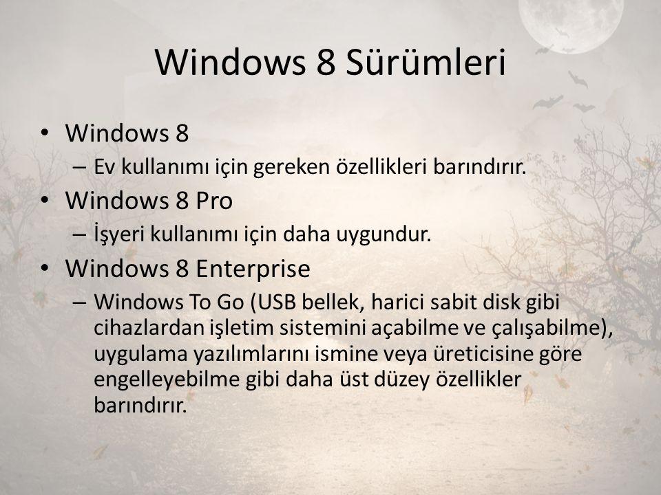 Windows 8 Sürümleri Windows 8 Windows 8 Pro Windows 8 Enterprise