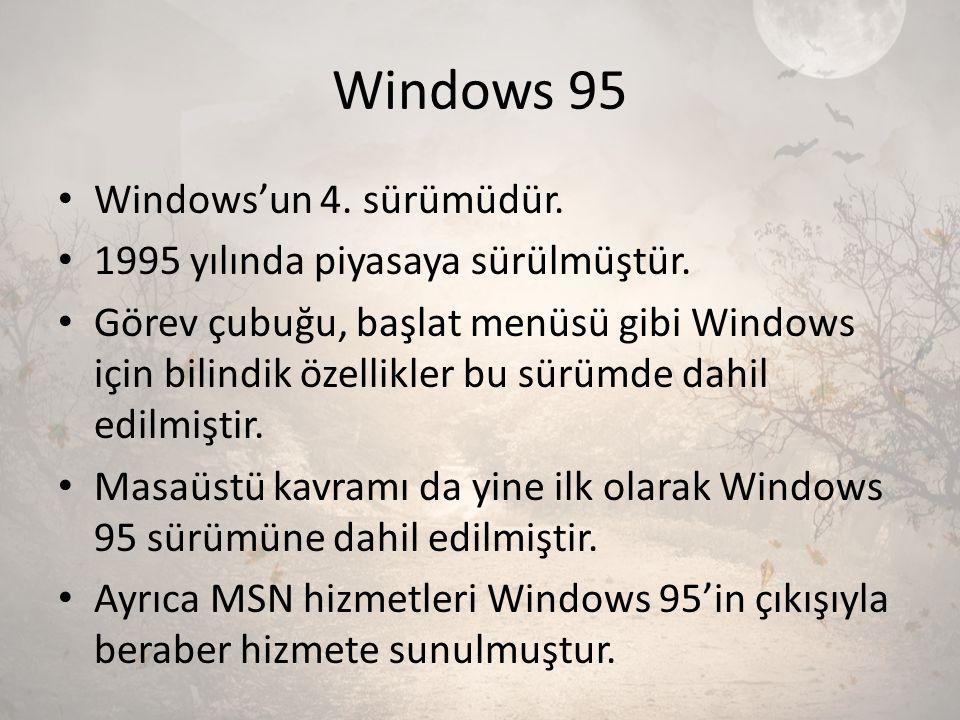 Windows 95 Windows'un 4. sürümüdür. 1995 yılında piyasaya sürülmüştür.