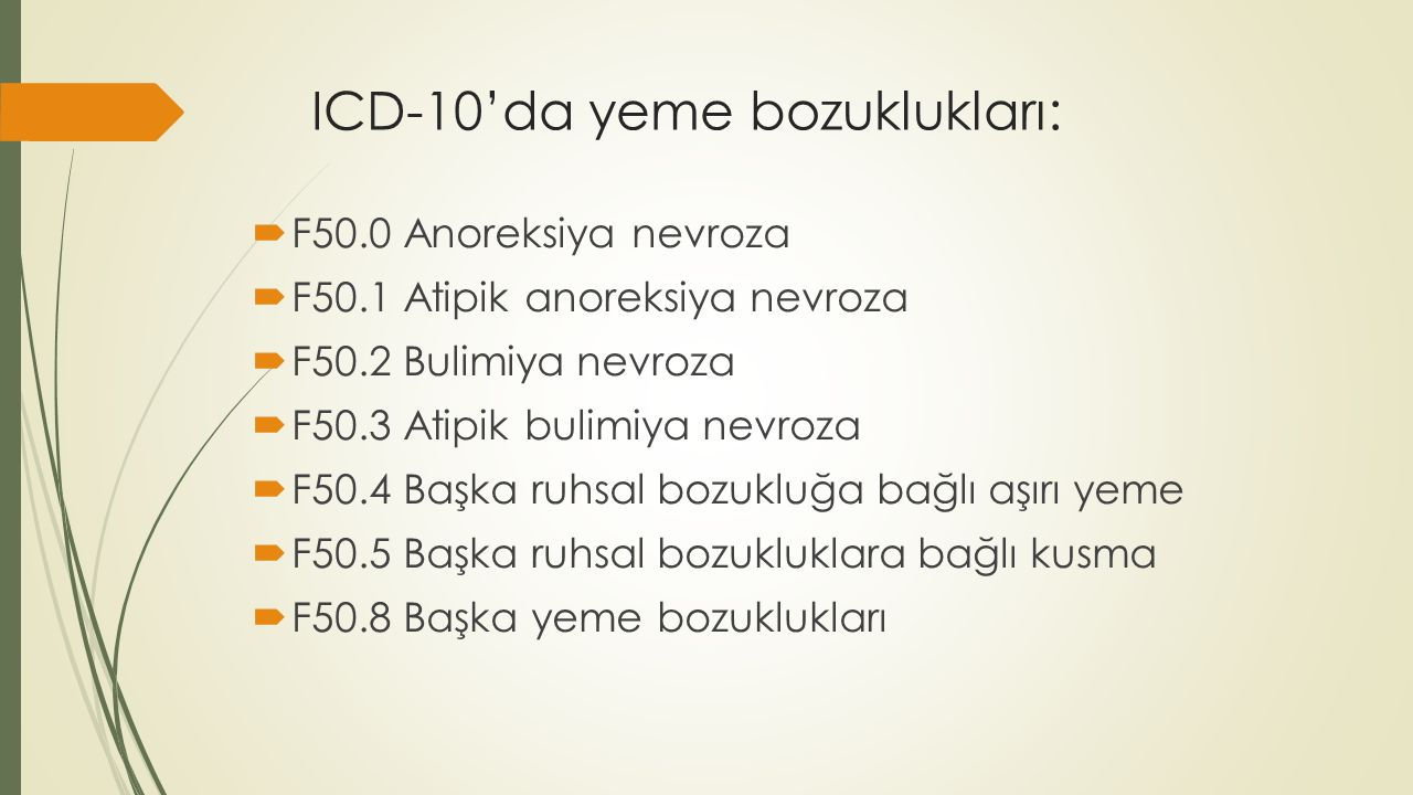ICD-10'da yeme bozuklukları: