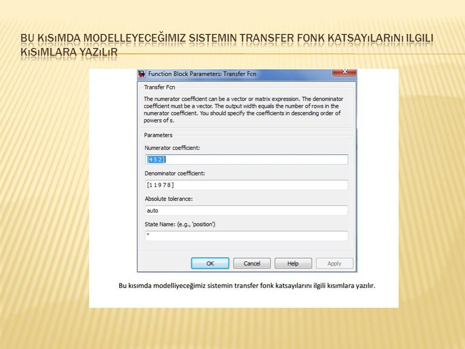 Bu kısımda modelleyeceğimiz sistemin transfer fonk katsayılarını ilgili kısımlara yazılır