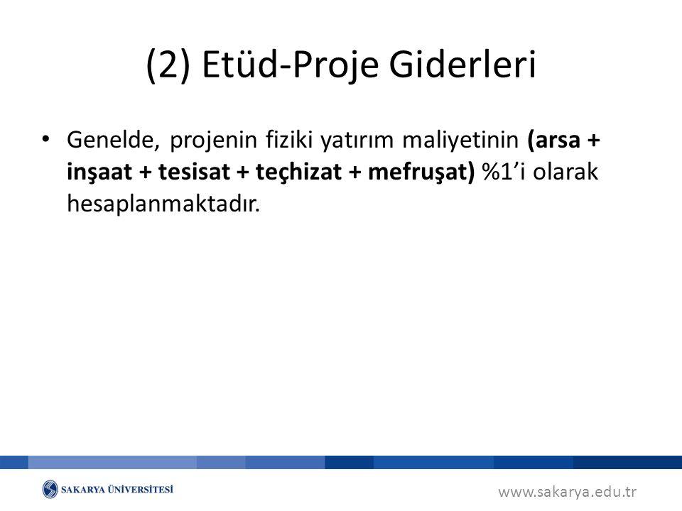 (2) Etüd-Proje Giderleri