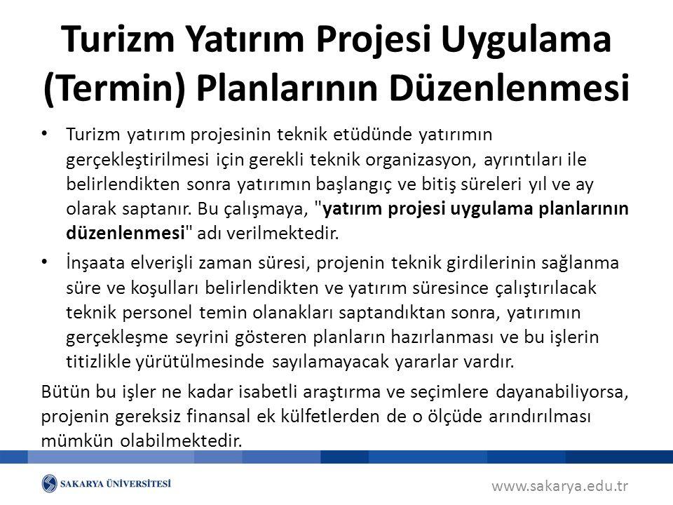 Turizm Yatırım Projesi Uygulama (Termin) Planlarının Düzenlenmesi