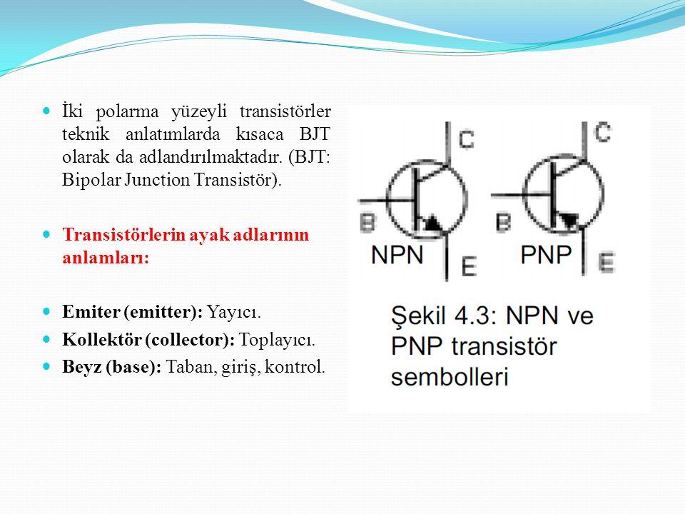 İki polarma yüzeyli transistörler teknik anlatımlarda kısaca BJT olarak da adlandırılmaktadır. (BJT: Bipolar Junction Transistör).