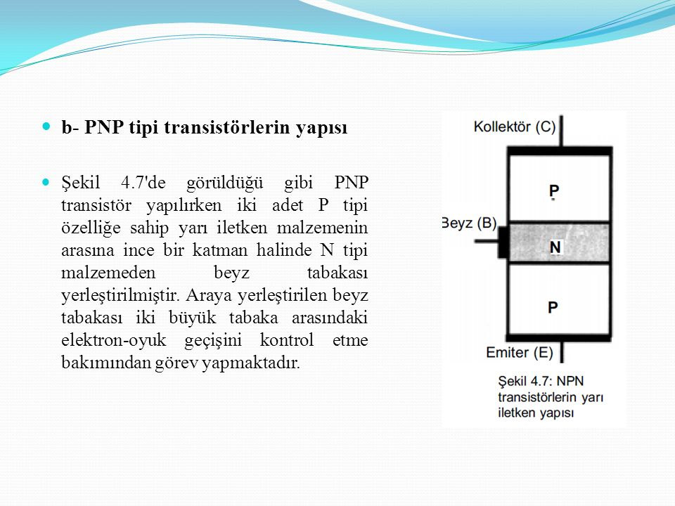 b- PNP tipi transistörlerin yapısı