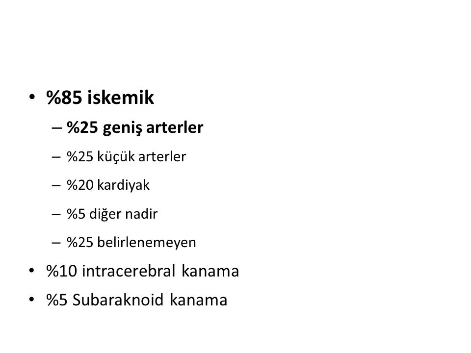 %85 iskemik %25 geniş arterler %10 intracerebral kanama
