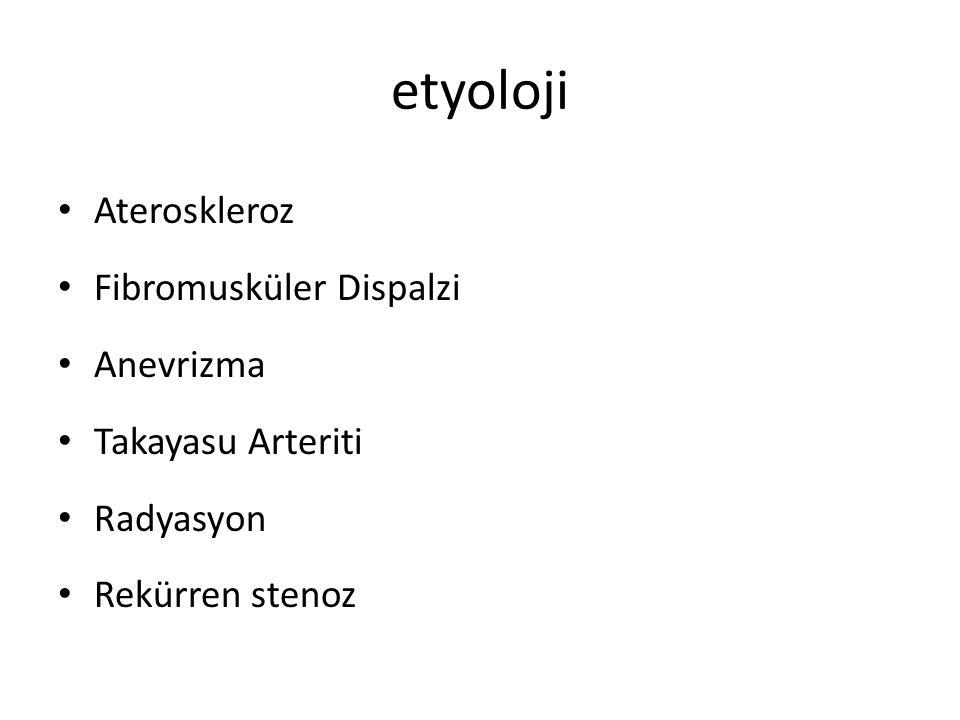 etyoloji Ateroskleroz Fibromusküler Dispalzi Anevrizma