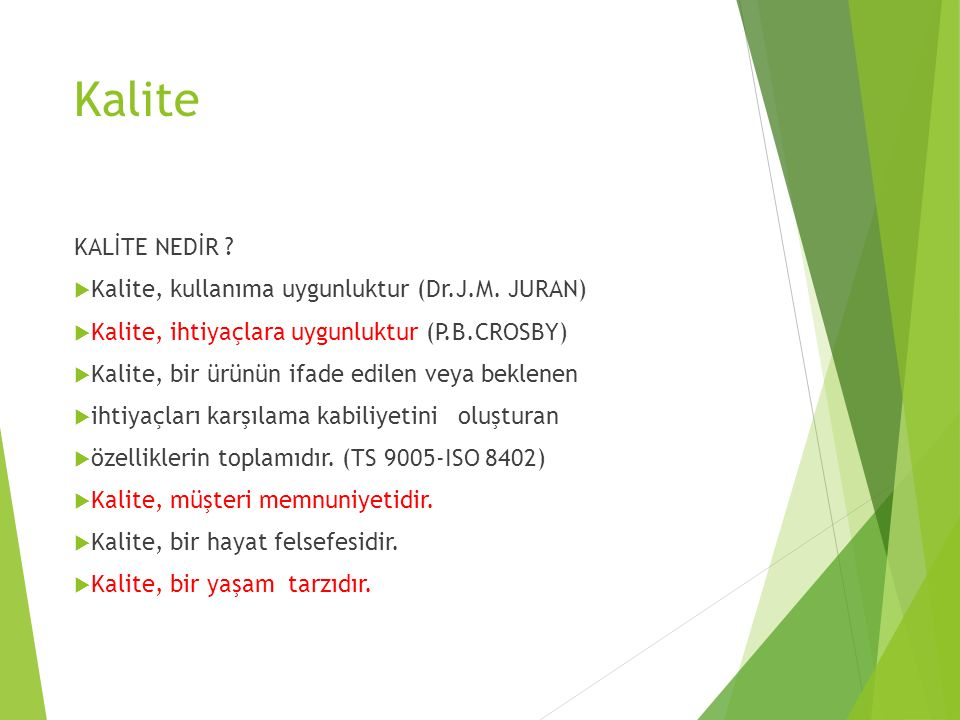 Kalite KALİTE NEDİR Kalite, kullanıma uygunluktur (Dr.J.M. JURAN)