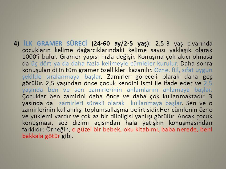4) İLK GRAMER SÜRECİ (24-60 ay/2-5 yaş): 2,5-3 yaş civarında çocukların kelime dağarcıklarındaki kelime sayısı yaklaşık olarak 1000'i bulur.
