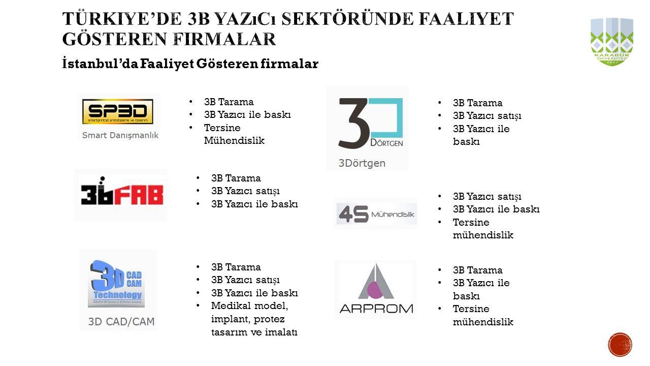 Türkiye'de 3b yazıcı sektöründe faaliyet gösteren firmalar