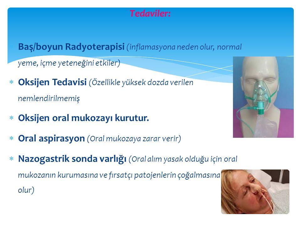 Tedaviler: Baş/boyun Radyoterapisi (inflamasyona neden olur, normal yeme, içme yeteneğini etkiler)