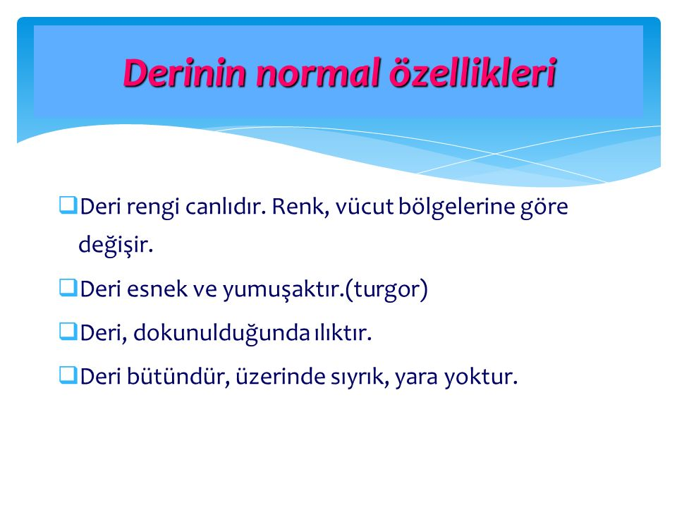 Derinin normal özellikleri