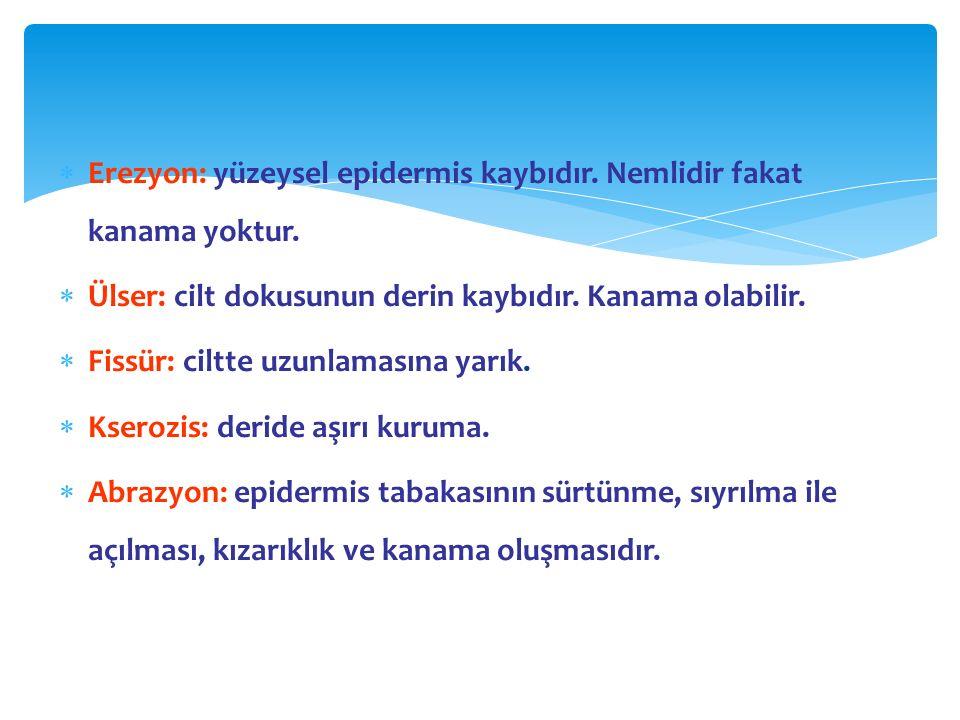 Erezyon: yüzeysel epidermis kaybıdır. Nemlidir fakat kanama yoktur.