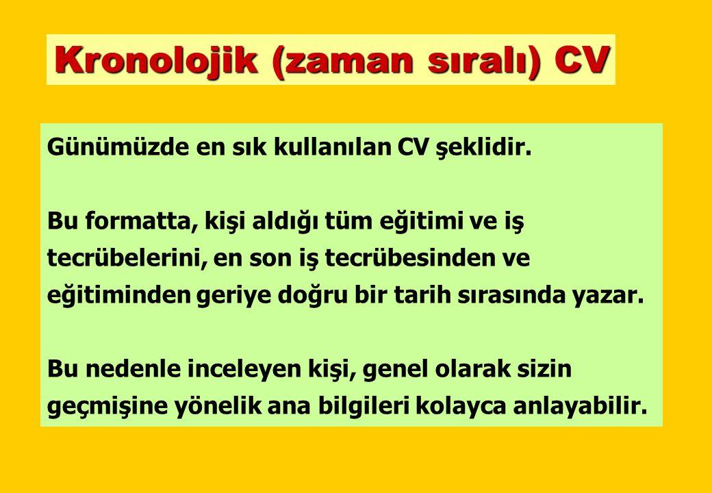 ÖRNEK CV-2 FOTOĞRAF KRONOLOJİK CV ÖRNEĞİ KİŞİSEL BİLGİLER