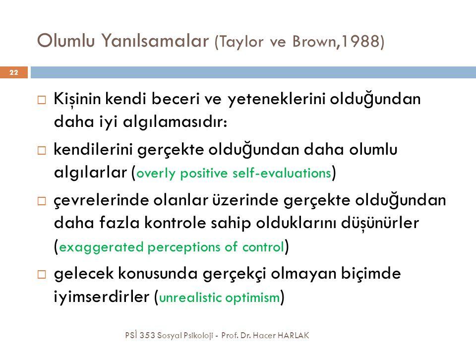 Olumlu Yanılsamalar (Taylor ve Brown,1988)