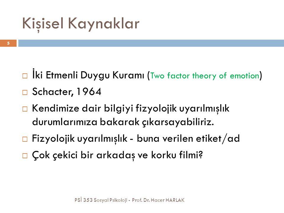 Kişisel Kaynaklar İki Etmenli Duygu Kuramı (Two factor theory of emotion) Schacter, 1964.