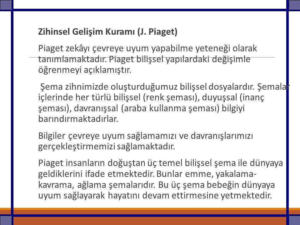 Zihinsel Gelişim Kuramı (J. Piaget)