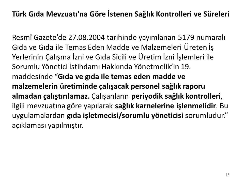 Türk Gıda Mevzuatı'na Göre İstenen Sağlık Kontrolleri ve Süreleri