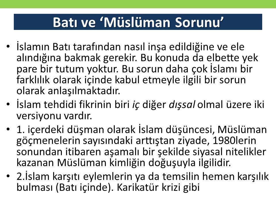 Batı ve 'Müslüman Sorunu'