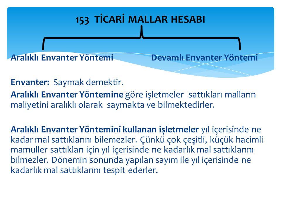 153 TİCARİ MALLAR HESABI Aralıklı Envanter Yöntemi Devamlı Envanter Yöntemi. Envanter: Saymak demektir.