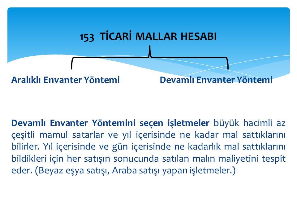 153 TİCARİ MALLAR HESABI Aralıklı Envanter Yöntemi Devamlı Envanter Yöntemi.