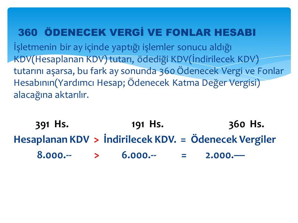 Hesaplanan KDV > İndirilecek KDV. = Ödenecek Vergiler