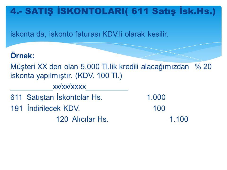4.- SATIŞ İSKONTOLARI( 611 Satış İsk.Hs.)