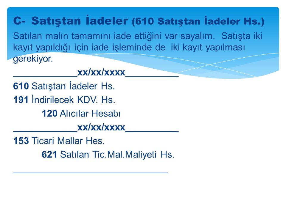 C- Satıştan İadeler (610 Satıştan İadeler Hs.)