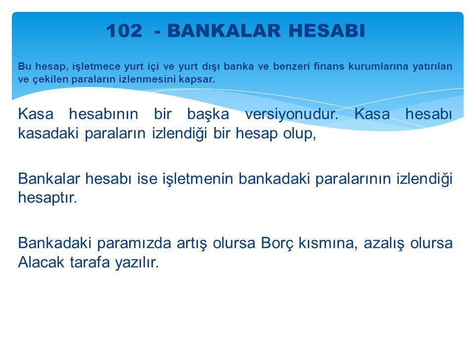 102 - BANKALAR HESABI