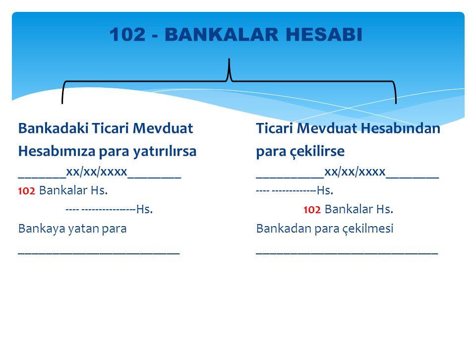 102 - BANKALAR HESABI Bankadaki Ticari Mevduat Ticari Mevduat Hesabından. Hesabımıza para yatırılırsa para çekilirse.