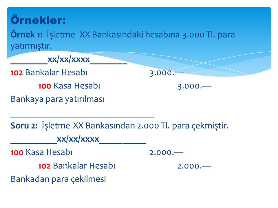 Örnekler: Örnek 1: İşletme XX Bankasındaki hesabına 3.000 Tl. para yatırmıştır. ________xx/xx/xxxx________.