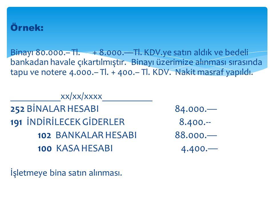 191 İNDİRİLECEK GİDERLER 8.400.-- 102 BANKALAR HESABI 88.000.—