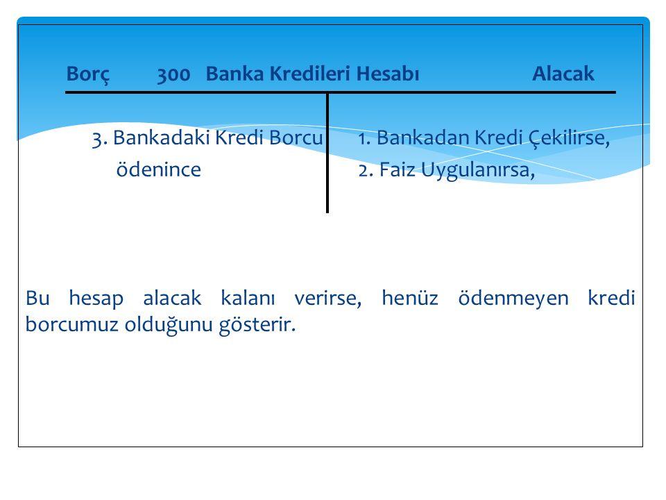 Borç 300 Banka Kredileri Hesabı Alacak 3. Bankadaki Kredi Borcu 1