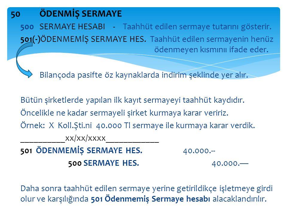 50 ÖDENMİŞ SERMAYE 500 SERMAYE HESABI - Taahhüt edilen sermaye tutarını gösterir.