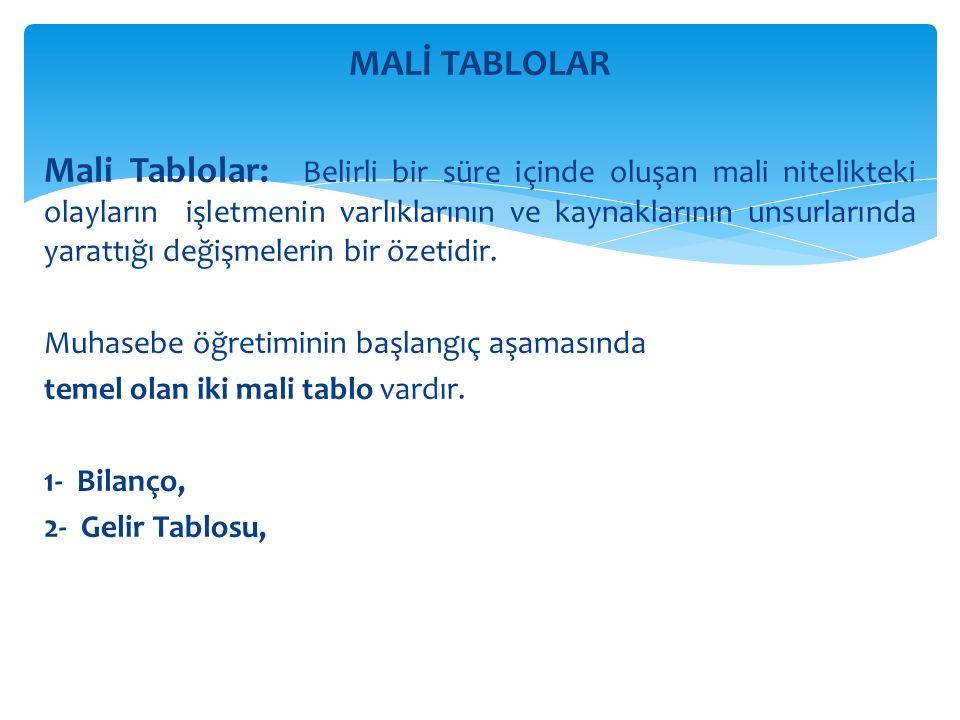 MALİ TABLOLAR