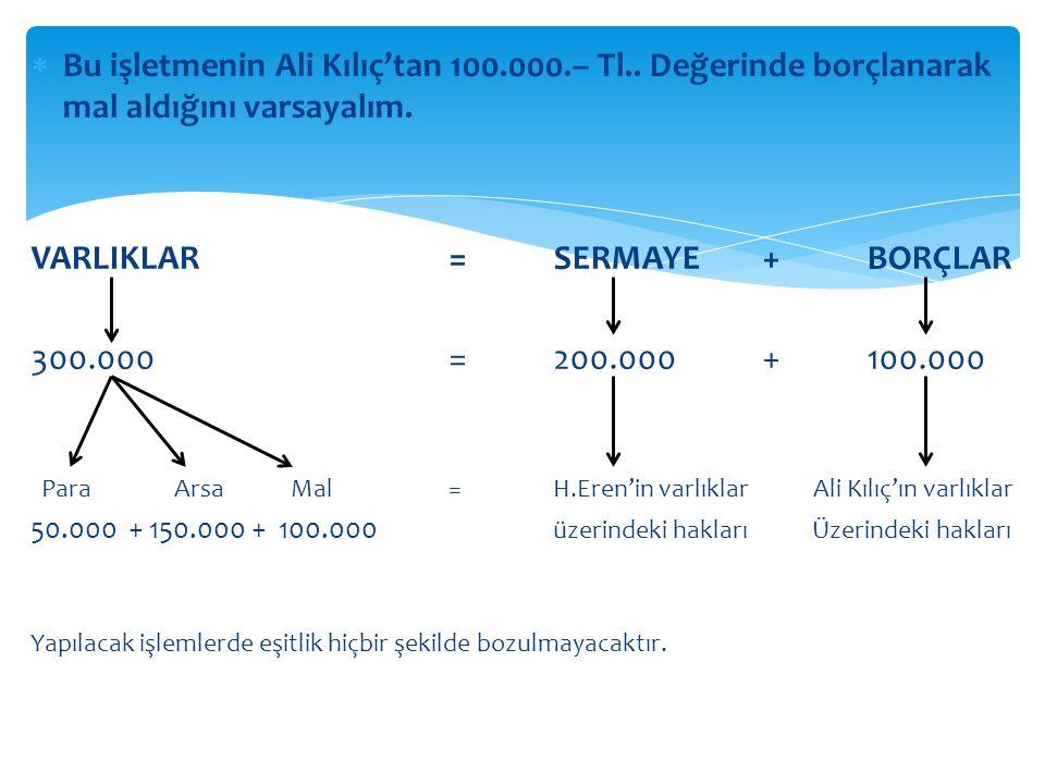 VARLIKLAR = SERMAYE + BORÇLAR 300.000 = 200.000 + 100.000